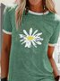 Mostata Women Short Sleeve Crew Neck Daisy Printed T-Shirts